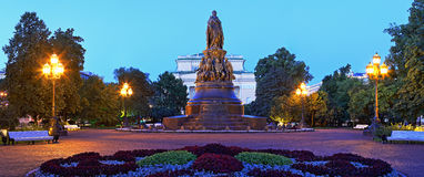 Monument to Ekaterina the Second in St. Petersburg. Night panorama of Ekaterininsky Square in St. Petersburg Stock Image