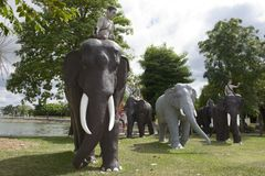 Monument to elephants, Surin city, Thailand. Stock Image