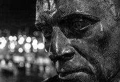 Face of emigration, monument in Vigo. Monument to the emigrant in Vigo Galicia. Black and white bokeh royalty free stock photos