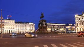The monument to Emperor Nicholas I on St. Isaac`s square in the evening stock video