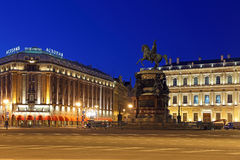 The monument to Emperor Nicholas I on St. Isaac`s square Stock Photography