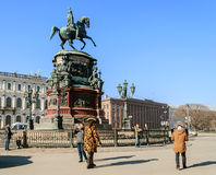 Monument to Emperor Nicholas I on St. Isaac's Square in St. Petersburg Royalty Free Stock Images