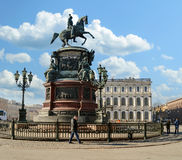 Monument to Emperor Nicholas I on St. Isaac's Square in St. Petersburg Royalty Free Stock Photos