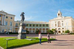 Monument to emperor Paul I in front of Pavlovsk Palace, palace of emperor in Pavlovsk, St Petersburg, Russia. Pavlovsk, St Petersburg, Russia - September 21 stock photos
