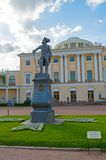Monument to emperor Paul I in front of the Pavlovsk Palace - summer palace of emperor in Pavlovsk, St Petersburg Russia. Pavlovsk, St Petersburg, Russia royalty free stock photos