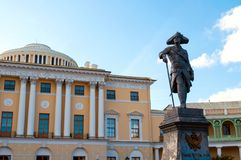 Monument to emperor Paul I in front of Pavlovsk Palace - summer palace of emperor in Pavlovsk, Russia. Pavlovsk, St Petersburg, Russia - September 21, 2017 stock images