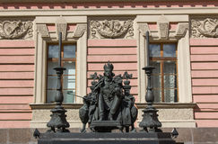 Monument to emperor Paul I in Mikhailovsky Palace courtyard. Saint-Petersburg, Russia stock images