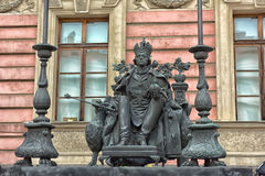 Monument to emperor Paul I in Mikhailovsky Palace courtyard Stock Photos