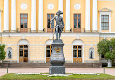 Monument to Emperor Paul I on the square of Pavlovsk Palace. Saint Petersburg, Russia royalty free stock photos