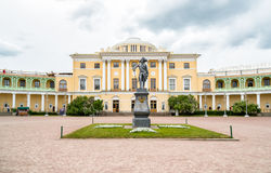Monument to Emperor Paul I on the square of Pavlovsk Palace. Saint Petersburg, Russia stock photography