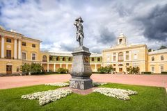 Monument to Emperor Paul on a pedestal. In front of the Palace in Pavlovsk on a sunny day stock photography