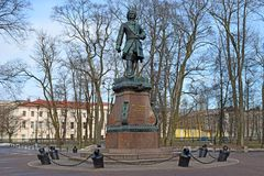 The monument to Emperor Peter the great on the waterfront Stock Photography