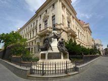 Monument to Eugeniu Carada, founder of The National Bank of Romania. Monument to Eugeniu Carada 1836-1910, founder of The National Bank of Romania and the head Stock Photo