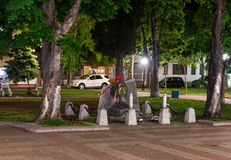 The monument to the fallen in the second world war in the centre of the old night of Pomorie in Bulgaria royalty free stock image