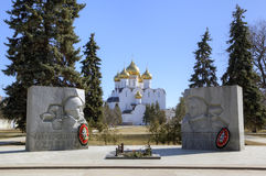 Monument to fallen soldiers and Assumption cathedral. Royalty Free Stock Photography