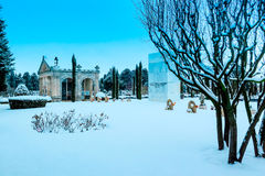 Monument to fallen soldiers in combat. Snowing in the cemetery St José. Burgos, Spain Stock Photography