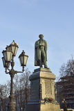 Monument to famous Russian poet Alexander Pushkin in Moscow (1880) Royalty Free Stock Image