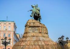 Monument to famous Ukrainian Hetman Bogdan Khmelnitsky Stock Image