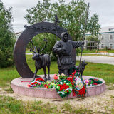 Monument to Feat of Deer-Transport Battalion Participants During. Great Patriotic War in the city of Naryan-Mar in the Russian Polar region Royalty Free Stock Images