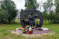 Monument to Feat of Deer-Transport Battalion Participants During. Great Patriotic War in the city of Naryan-Mar in the Russian Polar region Stock Photos