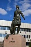 Monument to the female war hero ALIA MOLDAGULOVA in Astana Royalty Free Stock Photos