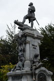 A monument to Fernando Magellan in Punta arenas. PUNTA ARENAS, CHILE - NOVEMBER 22,2014: A monument to Fernando Magellan in Punta arenas.The administrative Royalty Free Stock Photography