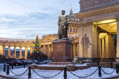 Monument to Field Marshal Barclay de Tolly and Kazan Cathedral, St. Petersburg Royalty Free Stock Photography