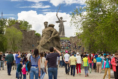 The monument to. Fight to the death against the background of the monument the Motherland calls!, about war, soldiers of the Second world war, is part of a Royalty Free Stock Photo