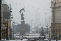 Monument to the fighters for the power of the Soviets in the Far East in the snow. stock image
