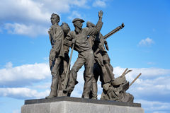 Monument to first builders of Komsomolsk-on-Amur Royalty Free Stock Images
