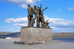 Monument to first builders of Komsomolsk-on-Amur Stock Photography
