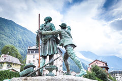 Monument to the first and second climbers on Mont Blanc Stock Photography