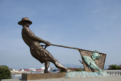 Monument to fisherman. In the port of Manzanillo, Colima state in Mexico Royalty Free Stock Photography
