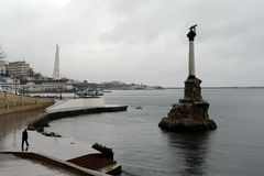 Monument to the flooded ships in the Sevastopol bay. Stock Photography