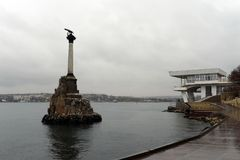 Monument to the flooded ships in the Sevastopol bay. Royalty Free Stock Images