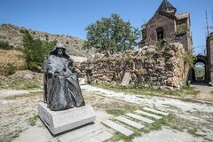 Monument to the founder of the monastery Mkhitar Gosh. Stock Photography