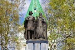 Monument to the founder of Nizhny Novgorod - George Vsevolodovic. H and Bishop Simon in the territory of the Nizhny Novgorod Kremlin. Russia Stock Photos