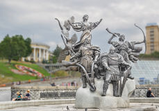 Monument to the founders of Kiev on Independence Square in Kiev Stock Photo