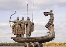 Monument to the founders of Kiev near Dnieper river Royalty Free Stock Image