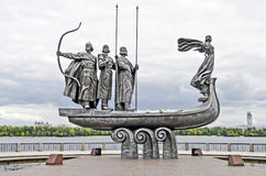 Monument to the founders of Kiev on the waterfront Royalty Free Stock Photo