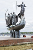 Monument to the founders of Kiev on the waterfront Royalty Free Stock Image