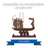 Monument to Founders Kyiv City Kiev Ukraine flat vector landmark Royalty Free Stock Photos
