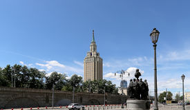 Monument to the founders of Russian Railways at the Kazansky railway terminal, Moscow, Russia Royalty Free Stock Photo