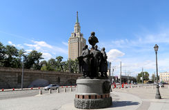 Monument to the founders of Russian Railways at the Kazansky railway terminal, Moscow, Russia Stock Images