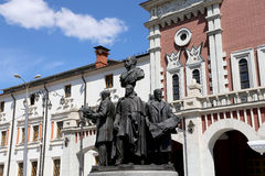 Monument to the founders of Russian Railways at the Kazansky railway terminal, Moscow, Russia Stock Photo