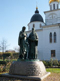 Monument to the founders of the Slavic alphabet Cyril and Methodius. Near the Uspensky Cathedral in Dmitrov Royalty Free Stock Images