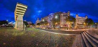Monument to Francesc Macia and Placa de Catalunya in the Morning Royalty Free Stock Photos