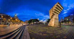 Monument to Francesc Macia and Placa de Catalunya in the Morning Royalty Free Stock Photo