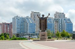 Monument to Francis Skaryna near National Library of Belarus, Minsk royalty free stock images