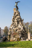 The monument to the Frejus Tunnel, Turin. Turin, Italy - November 1, 2014 : the monument dedicated tothe dead of Frejus Tunnel, Statuto Square Stock Images